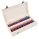 "Router Bit Set- 24 Piece Kit with ¼"" Shank and Wood Storage Case By Stalwart (Woodworking Tools for Home Improvement and DIY)"