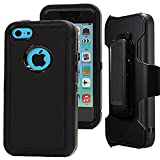 iPhone 5c Holster case,Auker Defender 3in1 Shock Absorbing Heavy Duty Rugged Hybrid Rubber Anti-Slip Scratch Resistant Full Body Protective Case with Built-in Screen Protector for iPhone 5c (Black)