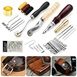 NXKang Leather Craft Tools Punch Kit Stitching Carving Working Sewing Saddle Groover for Adults Kids Sewing kit Travel