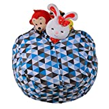 Gbell Kids Plush Toy Storage Bean Bag Stuffed Animal Organizer Bag, Soft Pouch Stripe Comfy Bean Bag Chair for Boys Girls, Large Multipurpose Storage,55.1'