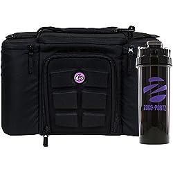 6 Pack Fitness Bag Innovator 300 Black/Neon Purple (3 Meal) w/Bonus ZogoSportz Cyclone Shaker