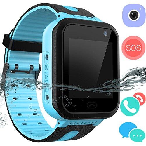 Kids Waterproof Smartwatch GPS Tracker - Boys & Girls IP67 Waterproof Smart Watch Phone Camera Flashlight Games Sports Watches Compatible with Smartphone for Children 3-12 (02 S7 Blue)