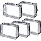 Pangda 5 Pack Clear PVC Zippered Toiletry Carry Pouch Portable Cosmetic Makeup Bag for Vacation, Bathroom and Organizing (Large, Transparent)