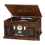 Victrola Nostalgic Aviator Wood 8-in-1 Bluetooth Turntable Entertainment Center, Espresso