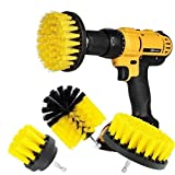 Drill brush 3Pcs Scrub Brush Drill Attachment Kit,Time Saving Kit And Power Scrubber Cleaning Kit, For Car, Bathroom, Wooden Floor, Laundry Room Cleaning (Yellow)