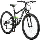 27.5' Mongoose R4054WMC Ledge 2.1 Men's Bike for a Path, Trail & Mountains,Black, Aluminum Full Suspension Frame, Twist Shifters Through 21 Speeds