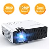 [Upgraded Fan] Projector, APEMAN Mini Portable 3500 Lumen Video Projector LED with Dual Speakers 45000 Hours Support HD 1080P HDMI/VGA/TF/AV/USB, Laptop/TV Box/Phone/PS4 for Home Theater Entertainment