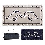 Reversible Mats Outdoor Patio / RV Camping Mat - Hunter Mat (Black/Beige Horse Design, 9 Feet x 18 Feet)