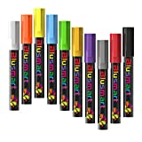 Chalk Markers, Blusmart 10pcs Bright Liquid Glass Window Pens with 40pcs Chalkboard Labels, Wet Wipe Erasable, 6mm Reversible Tips, Children Friendly