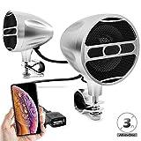 GoHawk All-in-One 3' Waterproof Bluetooth Motorcycle ATV 4 Wheeler Stereo Speakers 7/8-1.25 in. Handlebar Mount Music Player Audio Amp System w/USB, FM Radio, Aluminum