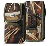 Military Grade Cell Phone Case, Camo Case w/Storage Pocket Belt Clip Compatible w/ [iPhone 6 6S 7 8 X XR XS (4.7'')] Rugged Canvas Pouch Holster Fits Phone with Waterproof & Commuter Case