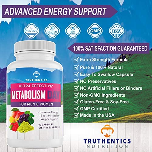 TRUTHENTICS Metabolism & Energy Boost - Natural Aid for Slow Metabolism - Supports Energy, Weight Loss, Blood Sugar Balance Supplement for Women & Men - Use Fat for Energy - Manage Cravings - 60 caps 3