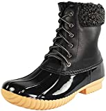 Nature Breeze Women's Duck-02 Lace Up and Zipper Waterproof Insulated Boot (Black, 8)