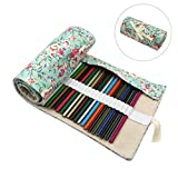 72 Slots Colored Pencils Roll Wrap Bag Pouch Portable Pencils Holder Pen Organizer for Artists Students Painters (Rose, 72-Slot)