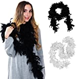 Tigerdoe Feather Boas - 2 Pack - Black and White Marabou Boa, Party Dressup Costume Accessories, 72 Inch Long