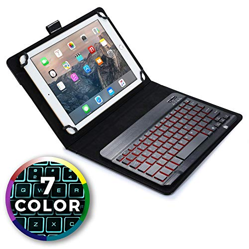 Cooper Backlight Executive Keyboard case Compatible with Google Nexus 10 | 2-in-1 Bluetooth Wireless Backlit Keyboard & Leather Folio Cover | 7 Color LED Keys (Black)