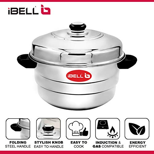 516Vj%2BLIUkL - IBELL IP21P3SM High Food Grade Idly Pot Stainless Steel with Steamer and Mini 3 Idlis Plates (21 Idlyes)