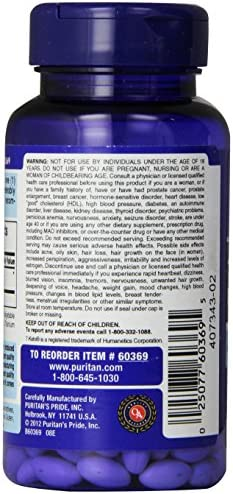 Puritan's Pride Rapid Release Softgels, 7-Keto Dhea, 25 mg, 60 Count 4