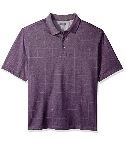 Van Heusen Men's Big and Tall Short Sleeve Printed Windowpane Polo
