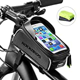 RockBros Bike Front Frame Bag Cycling Waterproof Top Tube Frame Pannier Bicycle Phone Mount Bag Touch Screen Holder Bike Bag Compatible with iPhone X XS Max XR 8 7 Plus