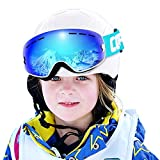COPOZZ Kids Ski Goggles, G3 Kids Snow Snowboard Goggles - Helmet Compatible Over Glasses OTG Design Non-Slip Strap UV Protection for Children Youth Boys Girls (White-Blue (VLT 24.5%))