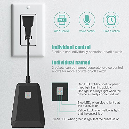Outdoor Wifi Outlet,Bearham Wireless Smart Plug(1 in 3 out) Waterproof  Outlet Socket with Timer Function Compatible with Amazon Alexa/Google Home  for