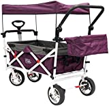 Creative Outdoor Push Pull Collapsible Folding Wagon Stroller Cart for Kids | Foldable Canopy w/Sun & Rain Shade | Beach Park Camping Tailgate & Garden | Purple/Magenta