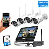 [8CH Expandable]All in one with 10.1' Monitor Wireless Security Camera System,HisEEu 8ch Wireless Home Security Camera System,4pcs 1.3MP Indoor/Outdoor Security Cameras,Easy Remote View,1TB Hard Drive