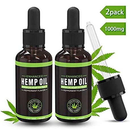 2-Pack-Hemp-Oil-Extract-for-Pain-Anxiety-Stress-Relief-Sleep-Support-Supplements-1000mg-30ml-100-Natural-Organic-Herbal-Drops-Tincture-Oil-Drops-Helps-with-Skin-Hair