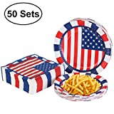 Fourth of July Decorations 4th of July Plates and Napkins for Independence Day Decorations, July 4th Party Suppies - 50 Pack