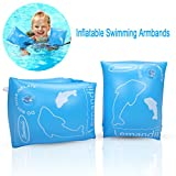edealing Swimming Inflatable Armbands, Floats Water Wings Arm Bands Training Aid Swim Pool for Baby (1-4 Years) (Blue)