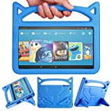 Kindle Fire HD 10 Kids Case,Angiuing Made of Lightweight, Shockproof EVA Material with Stand and Sturdy Handle,Amazon Tablet Child case Compatible with 7th and 5th Generation. (2017/2015) (Blue)
