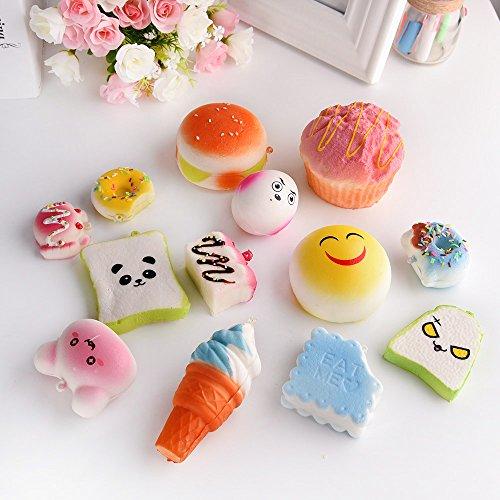 Squishy Cake Food 52 : Kuuqa Random 20 Pcs Squishy Charms 6pcs Jumbo Medium 14pcs Mini Kawaii Slow Rising Squishies ...