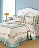 Martha Stewart Collection Cotton Prairie House Queen Bedspread Blue