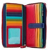 Visconti Multi Colored Soft Leather Ladies Wallet Purse Clutch -Spectrum 33 (Black Multi)