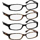 Reading Glasses 1.50 2 Black 2 Tortoise F503 (4 Pack)