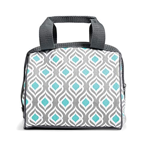 Fit & Fresh Charlotte Insulated Lunch Bag for Women, Cooler Bag Thermal Tote Bag for Work/Office/Picnic/Beach, Gray Aqua Leaf