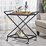 Product review for Sheri Industrial Tempered Glass Black Iron Bar Cart