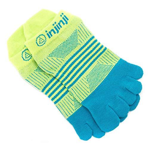 Injinji Women's Run Lightweight No Show Coolmax Xtralife Socks (Neon Green Turquoise, X Small/Small)