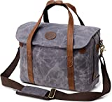 Kemy's Mens Waxed Canvas Briefcase 15.6 inch Leather Messenger Satchel with Shoulder Strap Bag Easter Gifts