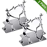 MROCO Heavy Duty Zinc Alloy Man Decorative Bookends, Non-skid, Metal Book Ends for Shelves, Book Support, Book Stopper for Books, Movies, Magazines, Video Games, 7.28 x 6.1 in, Silver, 2 Pair/4 Pieces
