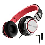 Artix CL750 Foldable Headphones with Microphone and Volume Control, On-Ear Stereo Earphones, Headset for Cellphones Tablets Smartphones Laptop Computer (Red/Gray)
