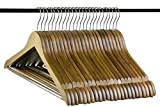 Neaties Bamboo Walnut Wood Hangers with Notches and Non-Slip Bar, 24pk