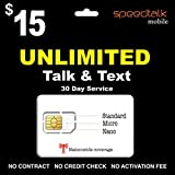 SpeedTalk Mobile Unlimited Talk and Text SIM Card 30 Day Service
