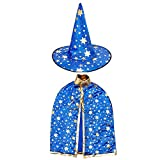 Halloween Costumes Witch Wizard Cloak with Hat for Kids Children Boys Girls Halloween Props Set (Blue)