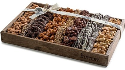 eceb22eb60 The Nuttery Fresh Chocolate and Nuts Gift Basket- Reusable Medium Wooden  Box- Kosher Gourmet