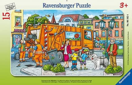 Amazon.com: Ravensburger 6162 Unterwegs mit der Müllabfuhr On The go with  The Garbage Collection, Multi-Coloured: Toys & Games