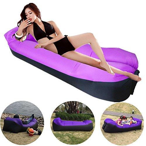 ZOCY Inflatable Lounge Air Sofa Hammock Portable Pool Float Lounge Chair Sleeping Bag Lightweight Waterproof Camping Beach Bed(Purple)