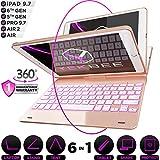 iPad Keyboard Case for iPad 2018 (6th Gen) - iPad 2017 (5th Gen) - iPad Pro 9.7 - iPad Air 2 & 1 - Thin & Light - 360 Rotatable - Wireless/BT - Backlit 10 Color - iPad Case with Keyboard (Rose Gold)