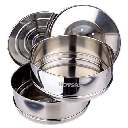 Stackable-Steamer-Insert-Pans-for-Instant-Pot-Safety-Handle-Sling--Fits-6-8-Qt-Stainless-Steel-Food-Grade-Stacking-Pots-for-Pressure-Cooker-Pot-in-Pot-Accessories--Two-Interchangeable-Lids